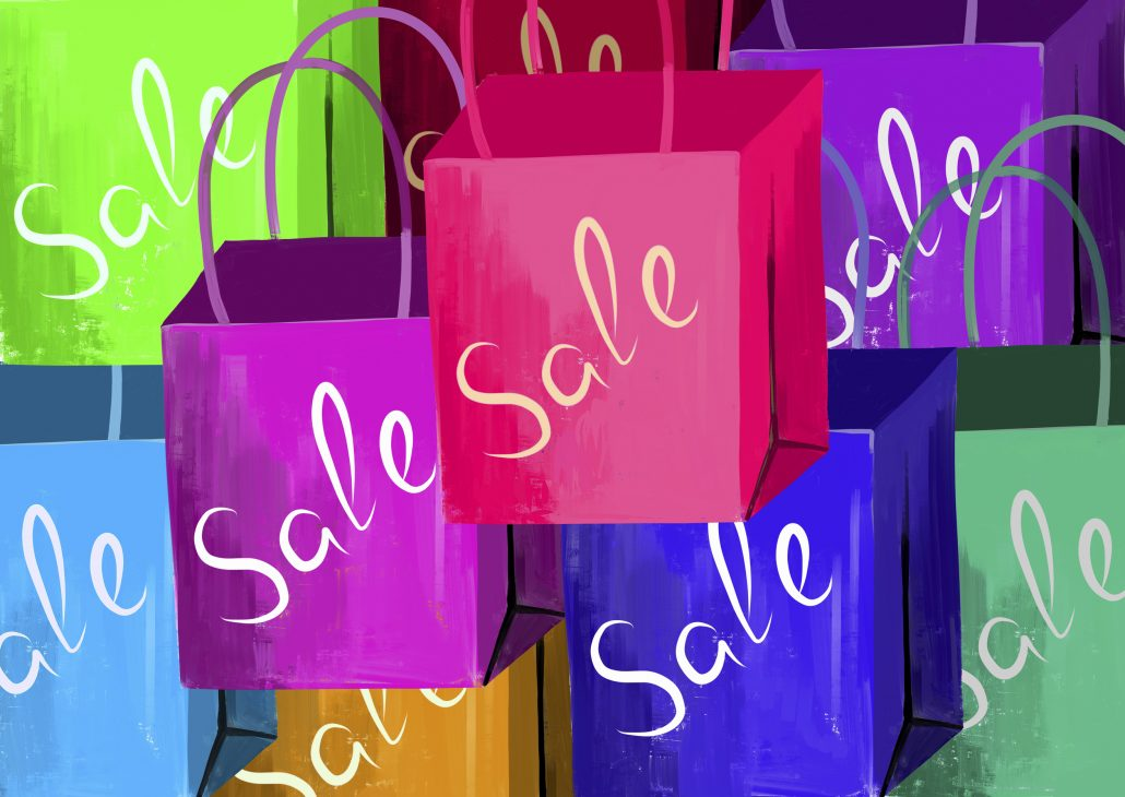 Sale shopping bags. Multicolor illustration with text